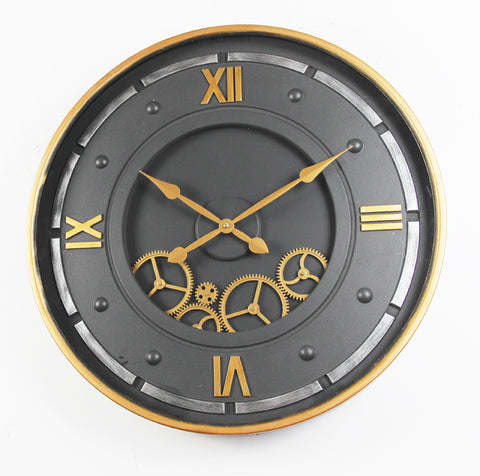 Large 59 Cm Roman Nomeral Moving  Gear Wall Clock