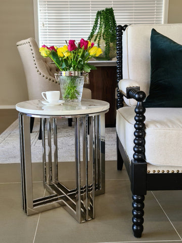 Royal Polished Stainless Steel SideTable With White Marble Top (comes with a free stunning gear moving wall clock)