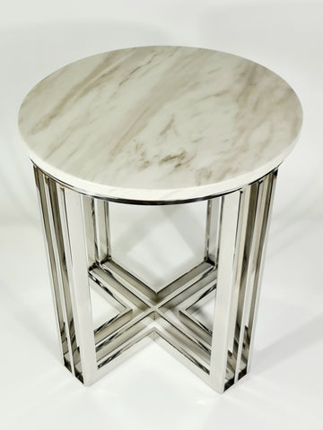 Royal Mirror Pollished Stainless Steel SideTable With White Marble Top