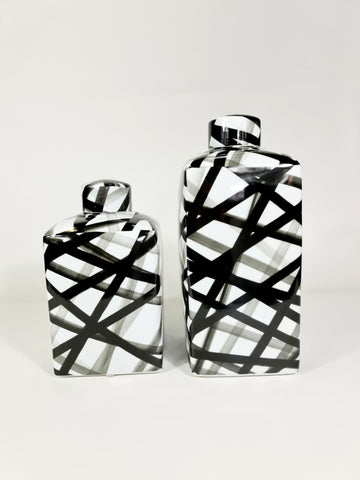 Medium Handpainted-Black And White Container, Graphic Black Strips (Big sale till end of Feb)
