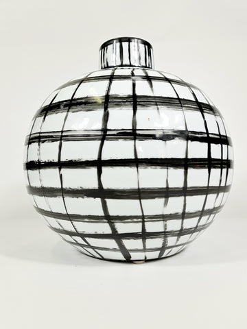 Large Handpainted Graphic Black And White Strips Vase (Big sale till end of Feb)