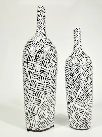 Handpainted-Black And White Tribal Vase (Big sale till end of Feb)