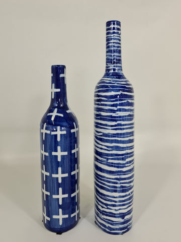 Blue And White Porcelain Bottle: Crosses (Big sale till end of Feb)
