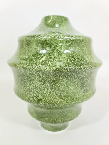 Chrysalis Vase: Green Shagreen, Spiral Design (Big sale till end of Feb)