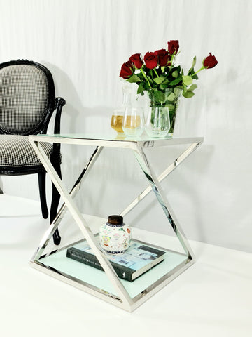 Nela Mirror Pollished Stainless Steel Side Table With white Tempered Glass