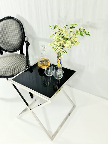 Lily Mirror Pollished Stainless Steel Side Table With Black Tempered Glass Top