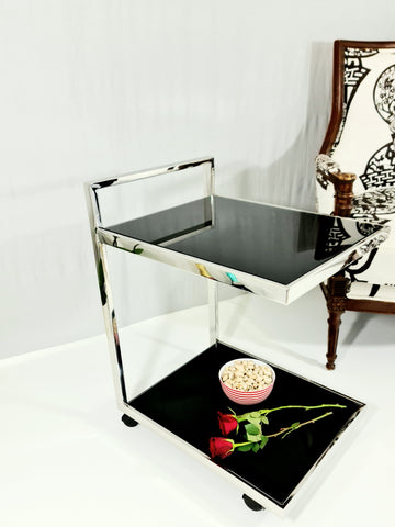 Jamie Mirror Pollished Stainless Steel Side Table/Trolley With Black or White Tempered Glass