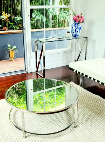 Tara Pollished Stainless Steel Console With Clear Glass Top