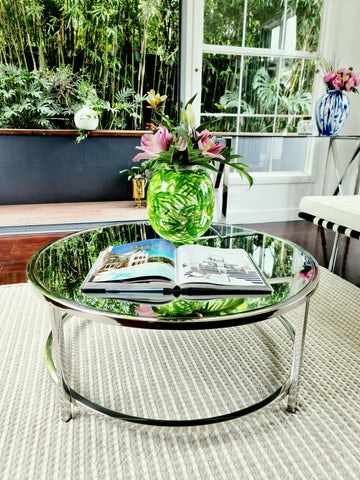 Dyako Mirror pollished Stainless Steel Coffee Table With Mirror Top