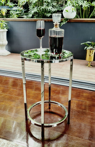 Dyako Mirror Stainless Steel Side Table With Mirror Top
