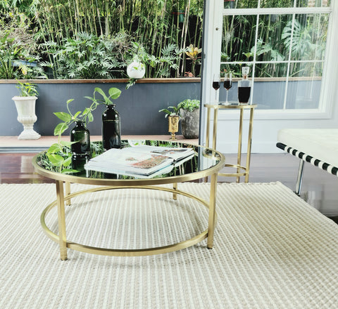 Dyako Gold Stainless Steel Coffee Table With Mirror Top