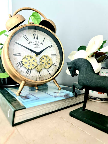 Industrial Age Rusty Rose Gold Vintage Gear Moving Table Clock