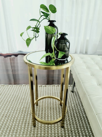 Dyako Gold Stainless Steel Side Table With Mirror Top