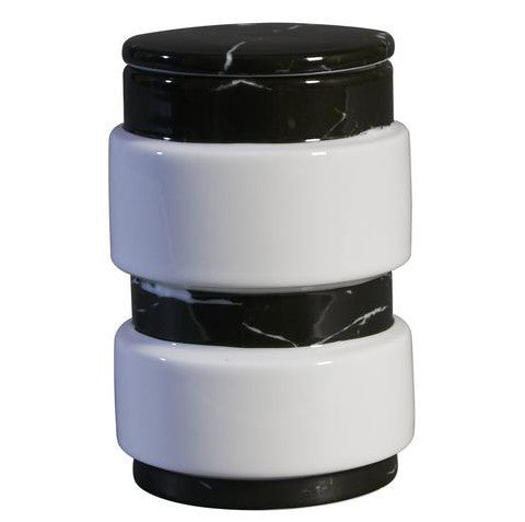 Container  : Large  Black Marble Decal On Stool