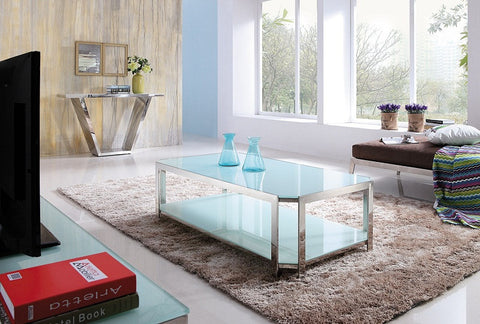 Milla Polished Stainless Steel Coffee Table With white-tempered Glass(sold out )