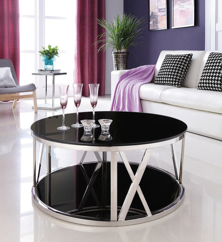 Kavir Polished Stainless Steel Round Coffee Table With Black Tempered Glass Sold out )