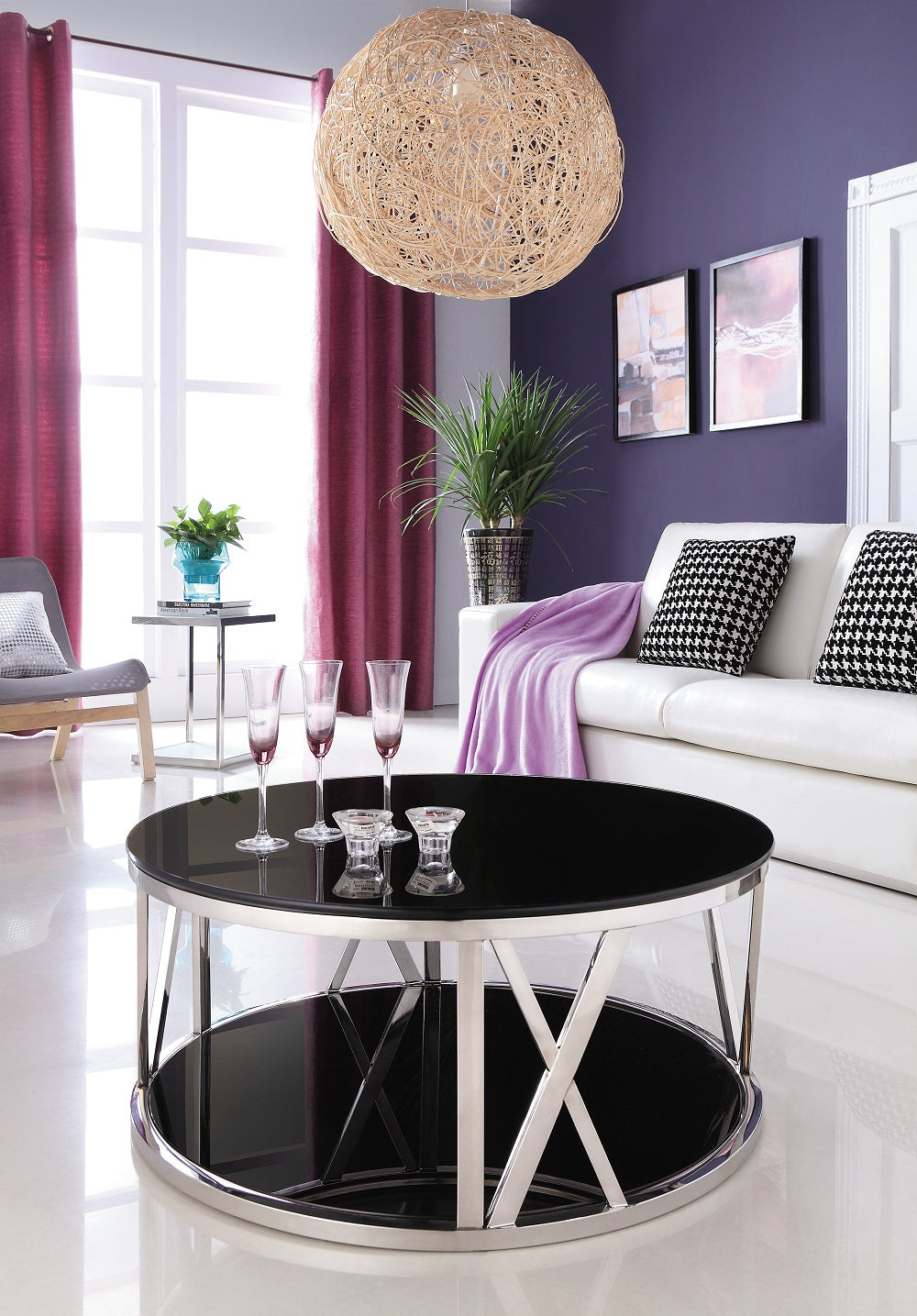 Kavir Polished Stainless Steel Round Coffee Table With Black Tempered  Glass. (one Left, Price Reduced)