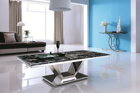 Zivan Polished Stainless Steel Coffee Table With Marble Top(one displey left only pick up)