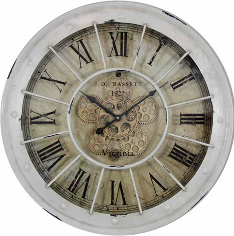 Large 62 Cm Classic Antique Wall Clock W/ Exposed Decorative Moving Gears
