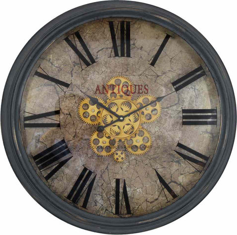 Large 62 Cm Antique Roman Numeral And Gear Detail Wall Hanging Clock.