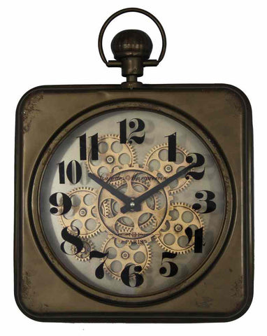Vintage 46.5 Cm Rusty Gear Wall Clock.