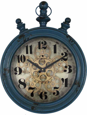 Large 35 Cm Metal Oval Wall Gear Clock.
