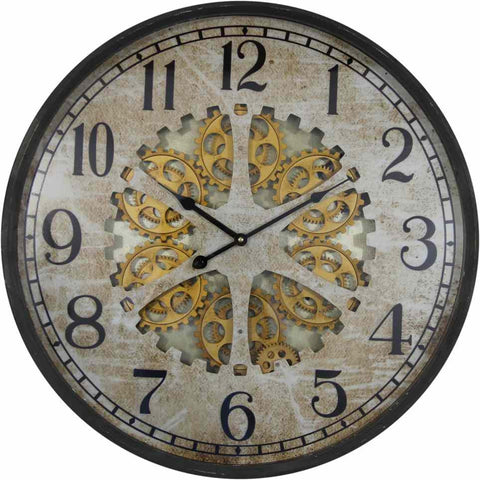 Large 60 Cm Antique Metal Wall Clock W/ Exposed Decorative Moving Gears.
