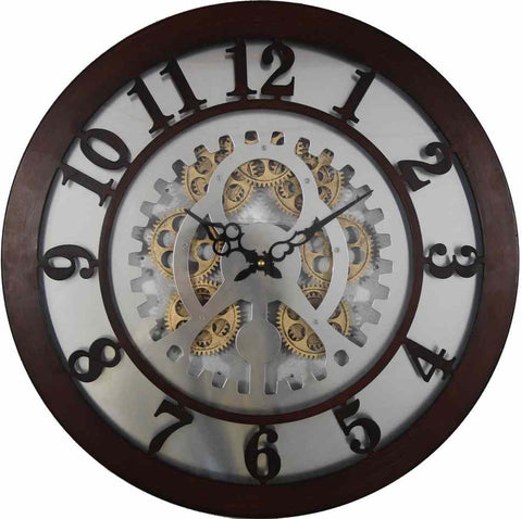 Large 50 Cm Gear Detail Wall Hanging Clock (can be used at covered outdoor area)