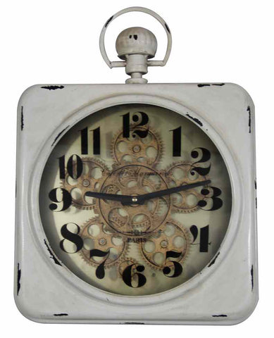 Antique Look Cafe De Marguerites Square Gear Wall Clock.
