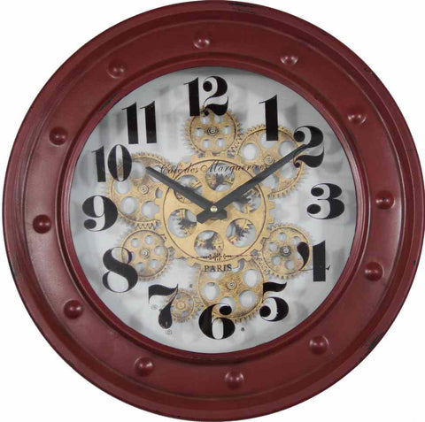French Word 40 Cm Wall Gear Clock - Cafe De Marguerites.