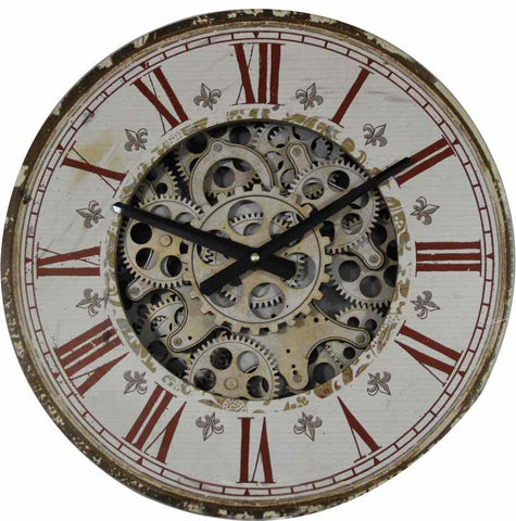 Vintage Decorative 44 Cm Roman Numeral And Gear Detail Wall Hanging Clock.