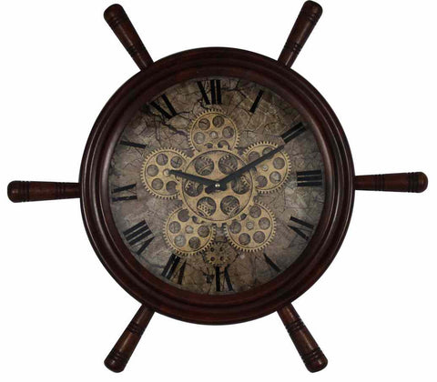 Large 59 Cm Wooden Ship Wheel Gear Wall Clock.