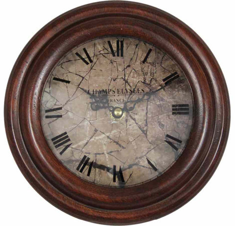 19 Cm Champs Elysee France Antique Look Wooden Table Clock