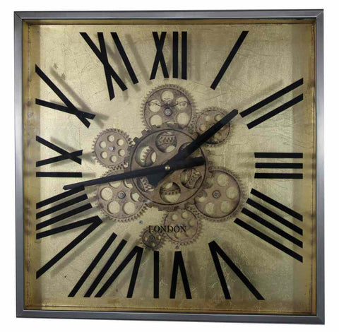 Large 38 Cm Square London Gear Wall Clock.