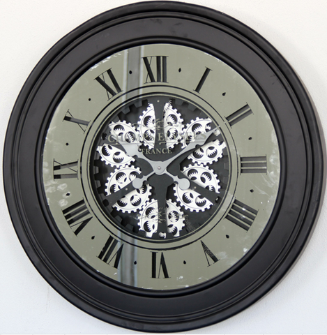 X large 80 Cm Champs-Elysees  Mirror Moving Gear  Wall Clock