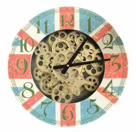 Vintage Decorative 44 Cm Gear Detail Wall Hanging Clock.