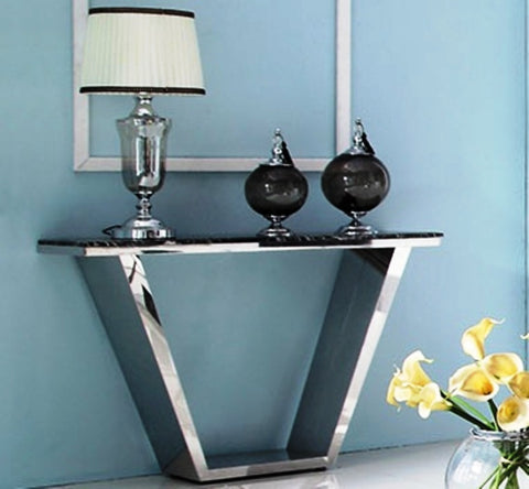 Telican Polished Stainless Steel Console With Marble Top(sold out)