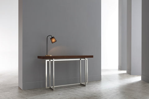 Peri Polished Stainless Steel Wooden Top Console
