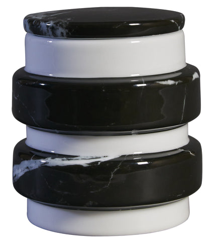 Container  : Medium Black Marble Decal On Stool (Big sale till end of Feb)