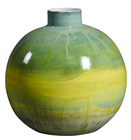 Handpainted  Green And Yellow Ceramic Vase, Spring Pastel