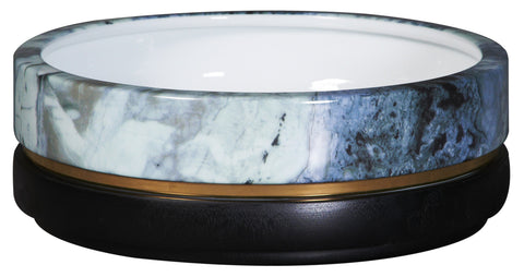 Low Canister Bowl: White Granite, Black