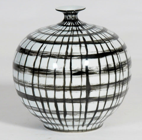 Handpainted Graphic Black And White Vase With Open Mouth (Big sale till end of Feb)