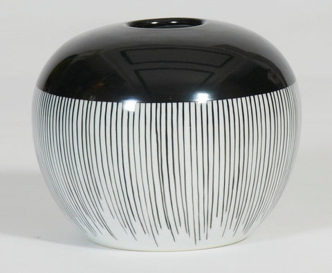 Handpainted-Black And White Vase With Vertical Strips Decoration