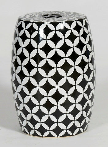 Geometric Morrocan Hand Painted -Black And White Stool (two left)