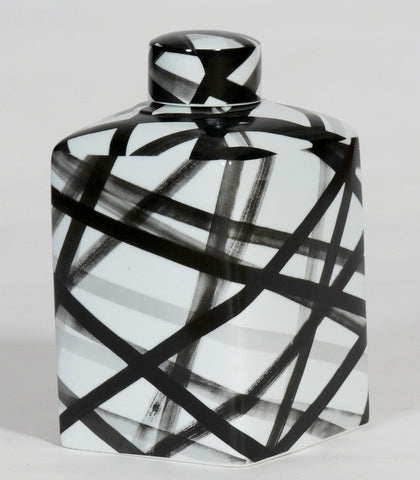 Medium Handpainted-Black And White Container, Graphic Black Strips