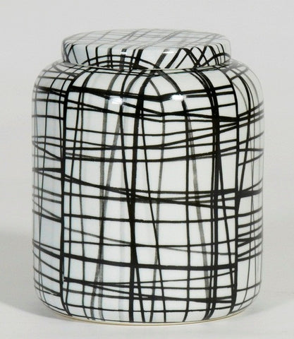 Handpainted-Graphic black & white pattern cookies container