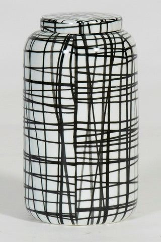 Large Handpainted-Graphic black & white pattern cookies container