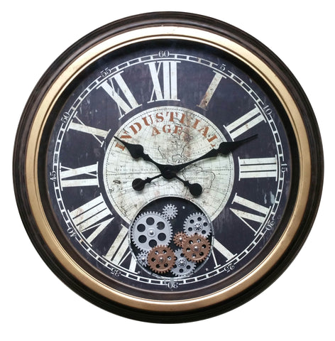 Roman Numeral 58.9 Cm Industrial Age Vintage Gear Moving Clock