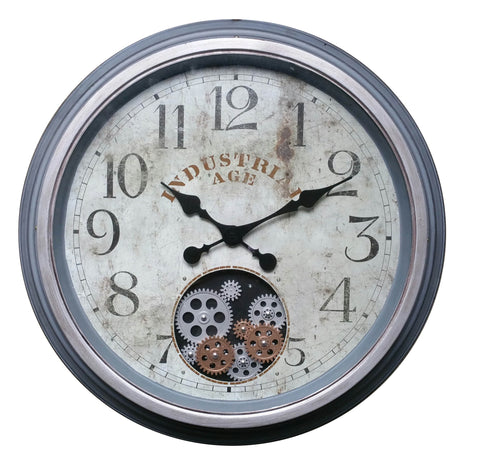 Numeric 58.9 Cm Antique Industrial Age Gear Moving Wall  Clock