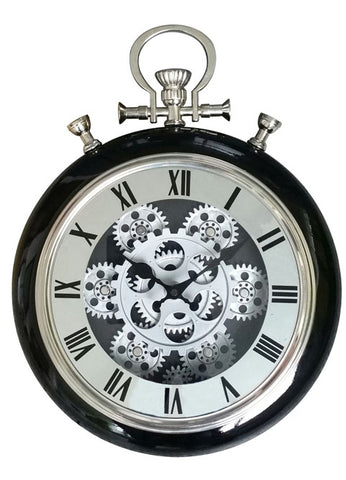 Roman Numeral 40 Cm Exposed Oval Gear Moving Clock